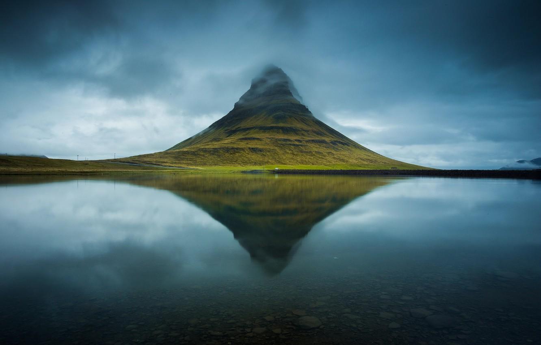 Photo wallpaper water, lake, river, Iceland, mountain Kirkjufell