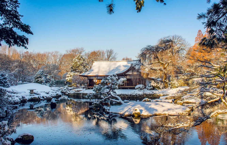 Photo wallpaper winter, trees, house, pond, Park, Philadelphia, PA, Pennsylvania, Philadelphia, Fairmount Park, Shofuso Japanese House and …