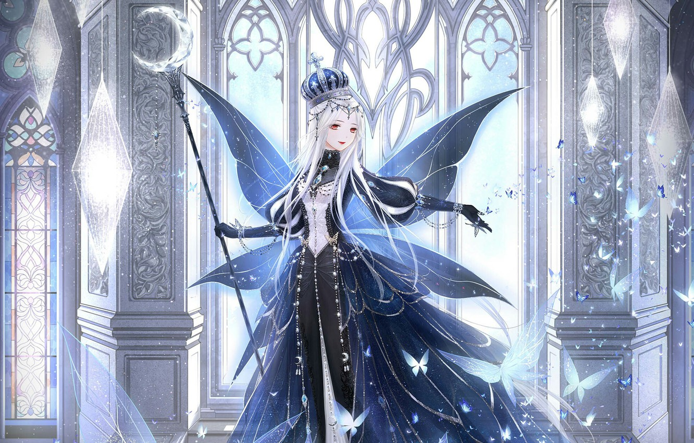 Photo wallpaper girl, butterfly, wings, crown, staff