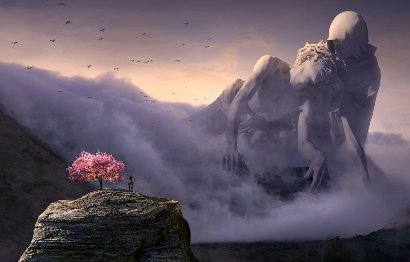 Photo wallpaper the sky, clouds, light, landscape, mountains, birds, space, fog, rock, rendering, people, fiction, woman, people, …