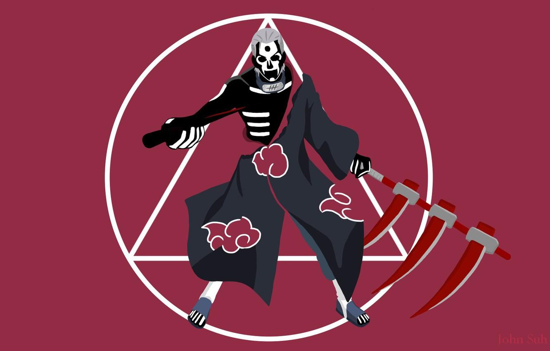 Photo wallpaper sake, blood, Naruto, ninja, evil, Akatsuki, shinobi, minimalism, Naruto Shippuden, hitaiate, nukenin, Hidan, Yugakure, Jashin, ...