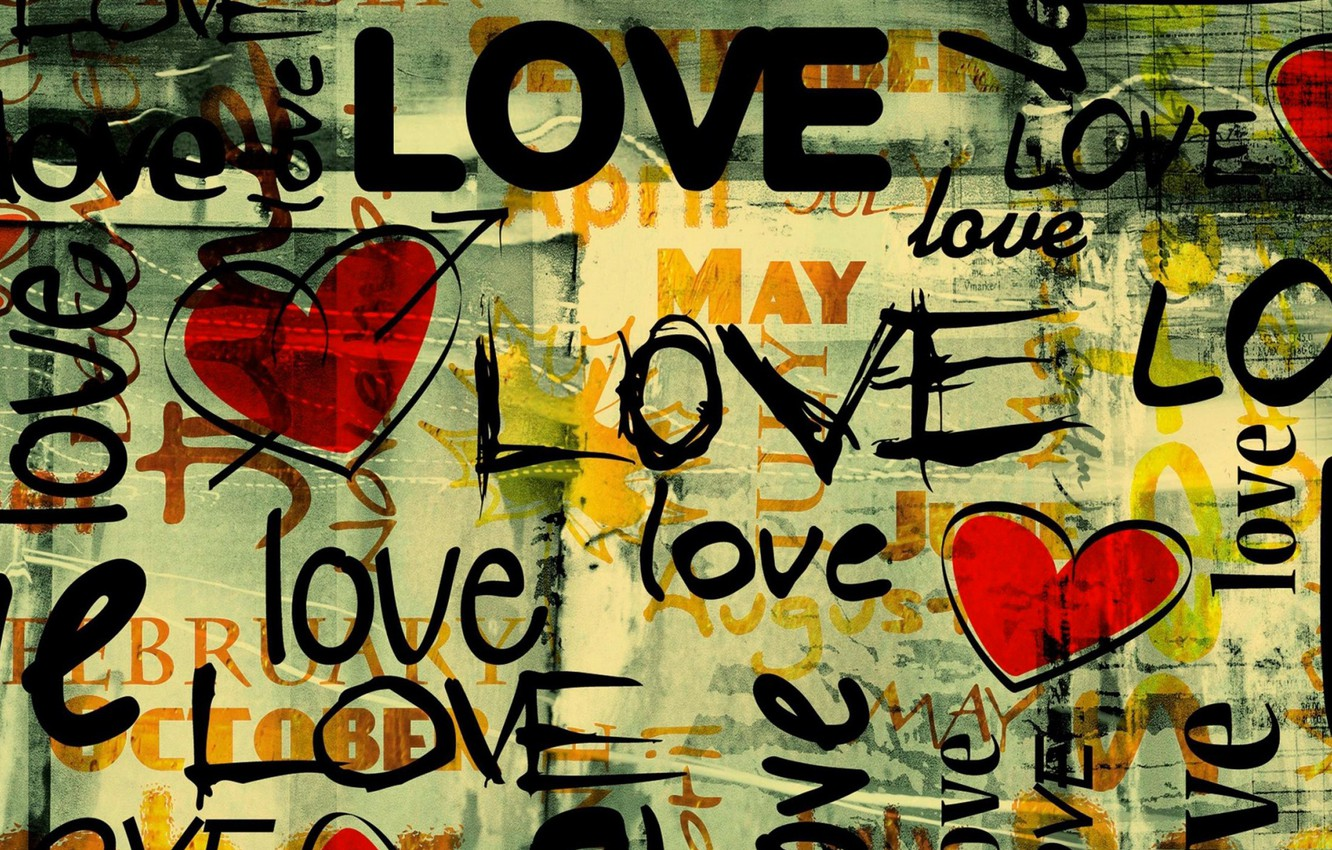 Photo wallpaper love, letters, heart, love, the word