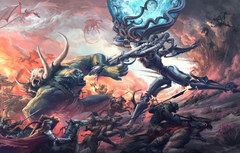 Photo wallpaper dragons, monsters, battle, knights, monster, Thomas Chamberlain - Keen