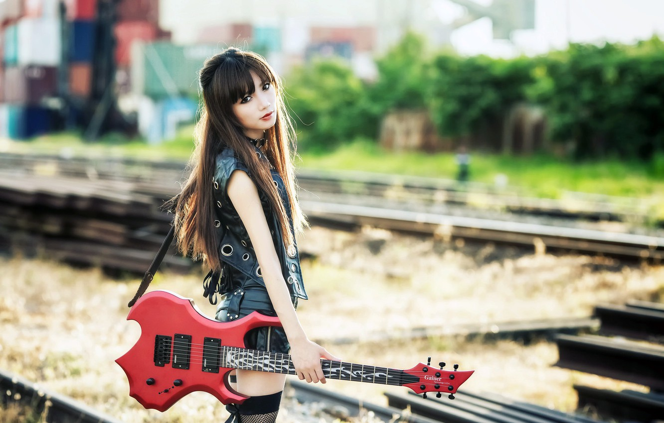 Wallpaper Girl Music Guitar Images For Desktop Section Muzyka Download