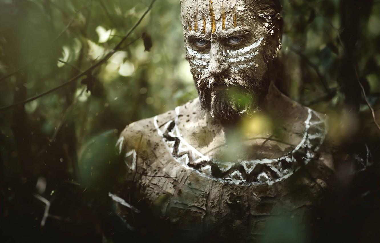Photo wallpaper look, man, beard, paint, aboriginal