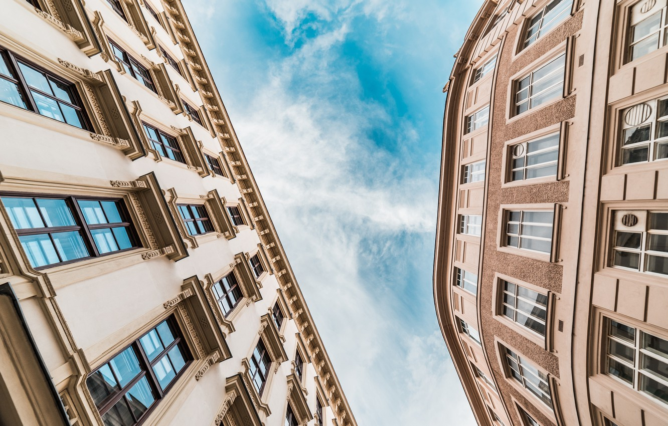Photo wallpaper the sky, view, Windows, building