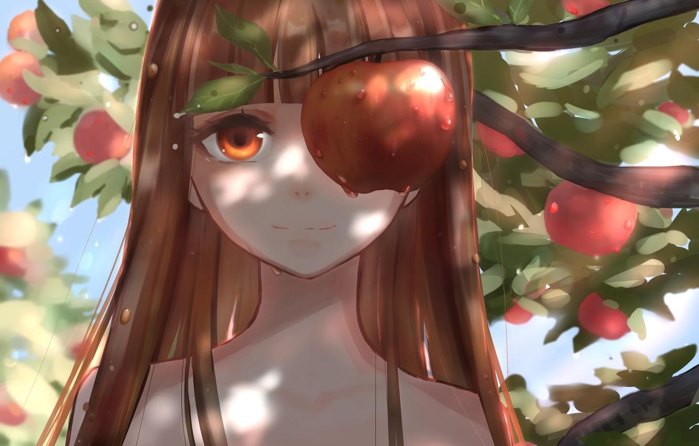 Photo wallpaper summer, girl, Apple, garden