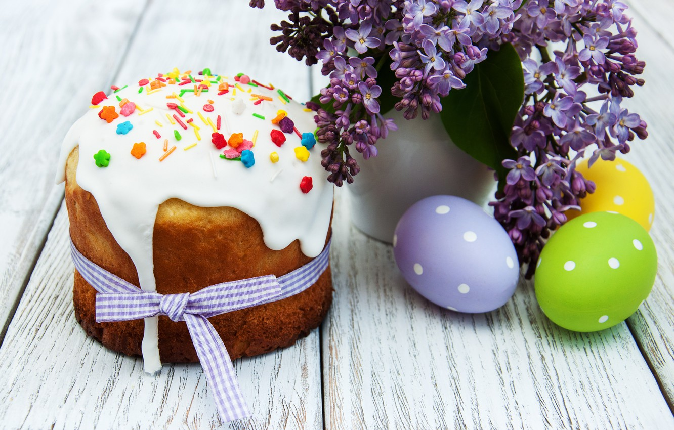 Photo wallpaper flowers, Easter, cake, cake, flowers, cakes, lilac, glaze, spring, Easter, eggs, Happy, lilac, the painted …