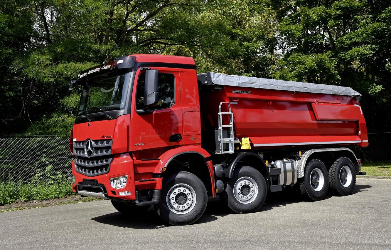 Photo wallpaper red, Mercedes-Benz, dump truck, Arocs, four-axle