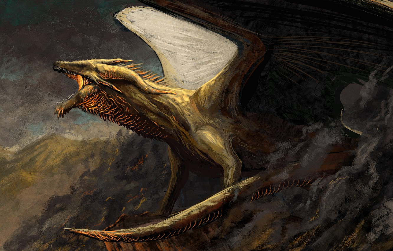 Photo wallpaper mountains, dragon, wings, power, fantasy, art, mouth