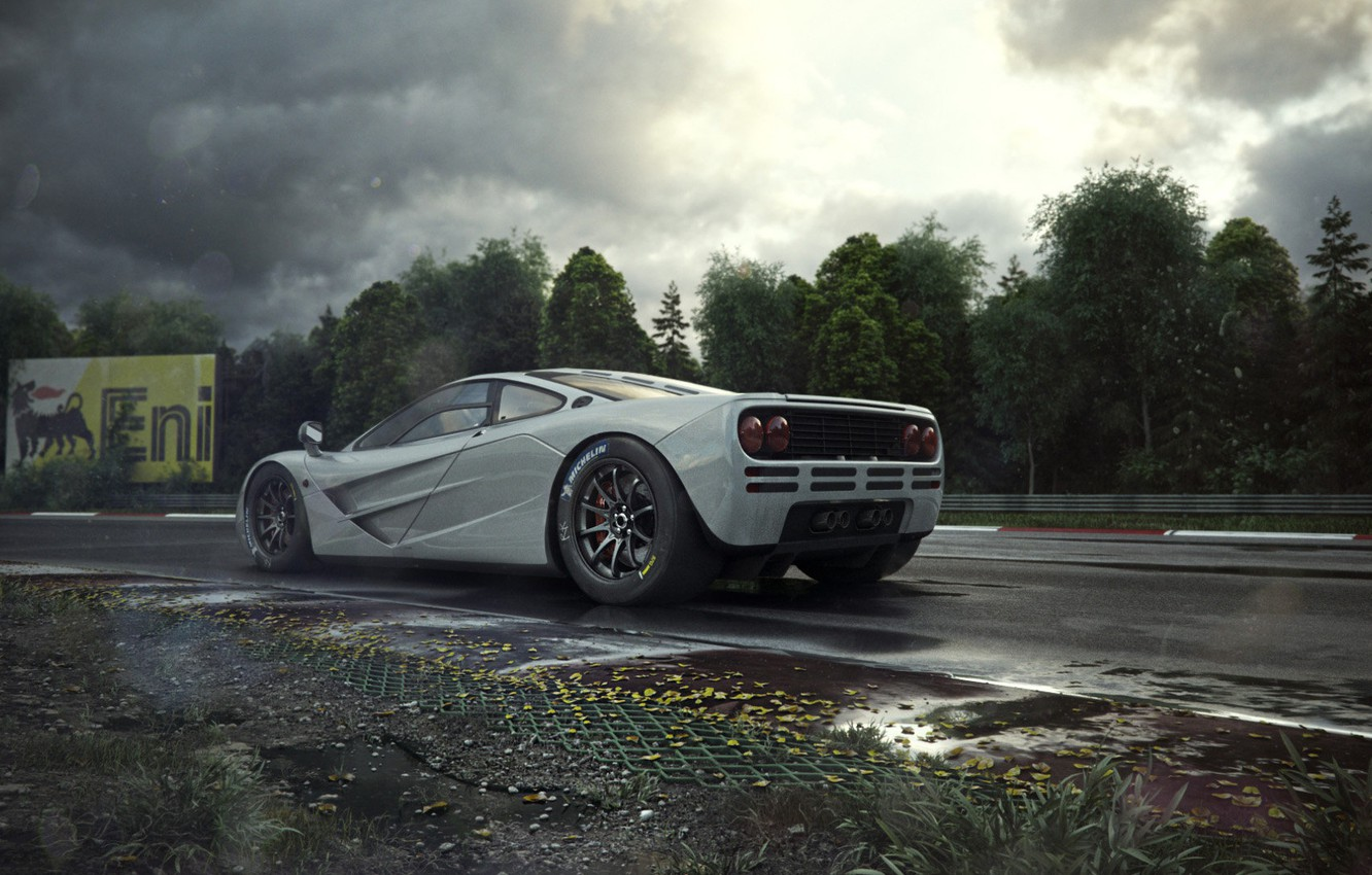 Photo wallpaper Auto, Machine, Light, Clouds, Grey, Art, Supercar, Rendering, Nurburgring, The Nürburgring, Mclaren, Mclaren f1, Colorsponge …