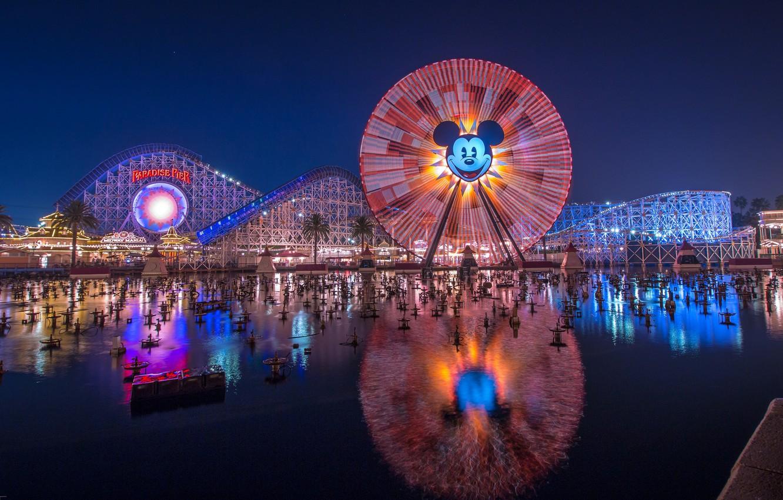 Wallpaper Lights Night Ferris Wheel Park Disneyland