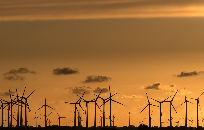 Photo wallpaper night, windmills, wind power