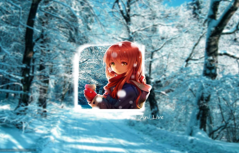 Photo wallpaper girl, Winter, snow