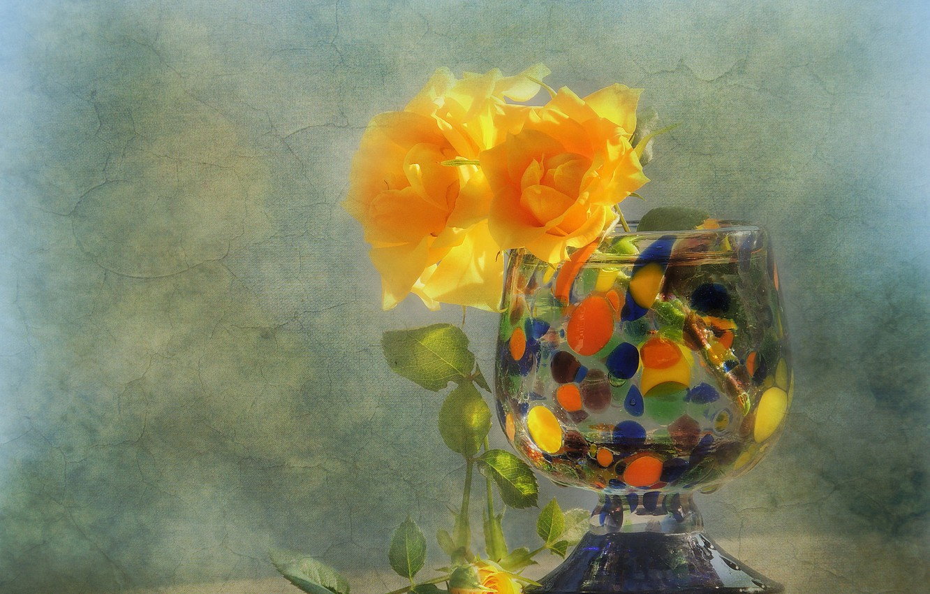 Photo wallpaper flowers, style, roses, texture, vase, yellow roses
