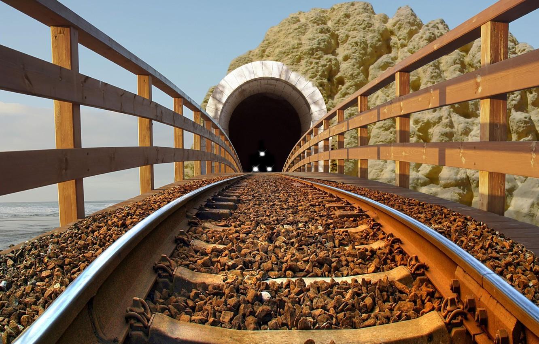 Photo wallpaper lights, rock, beach, sea, binary, fence, tunnel, train, rails, Railroad