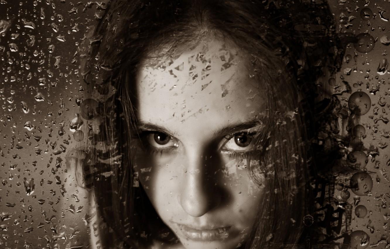 Photo wallpaper look, girl, drops, emotions, Sepia, girl, beautiful, raindrops, beautiful eyes, emotions, Kide Fotoart