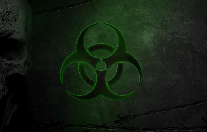 Photo wallpaper Skull, Green, Virus, Green, Sake, Biohazard, Danger