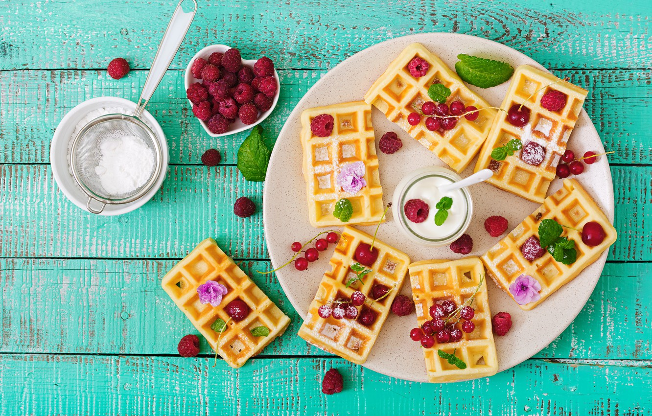 Photo wallpaper berries, raspberry, fresh, wood, waffles, berries, raspberry, wafer