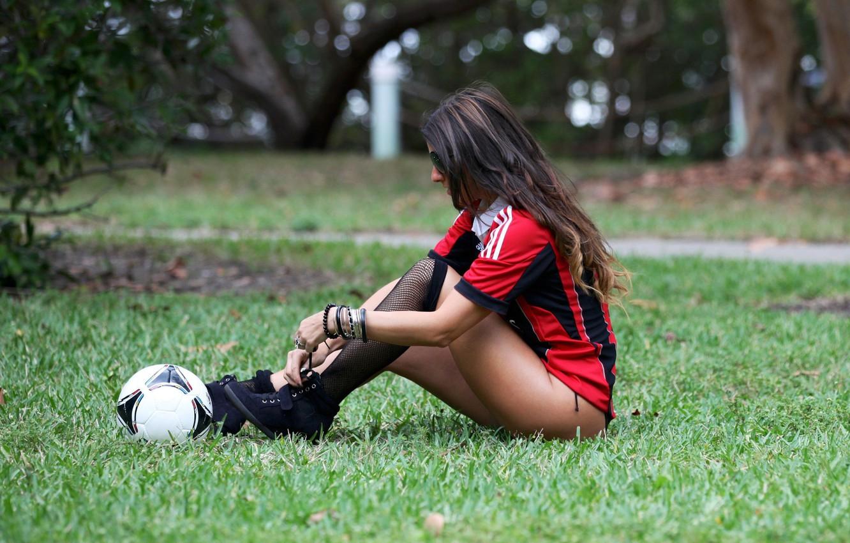 Photo wallpaper grass, the ball, brown hair, Claudia Romani, Italian model, fan of Milan