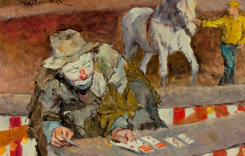 Photo wallpaper card, horse, clown, Solitaire, Pal Fried