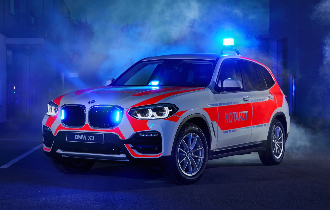 Photo wallpaper 2018, crossover, flashers, ambulance, BMW X3, xDrive20d