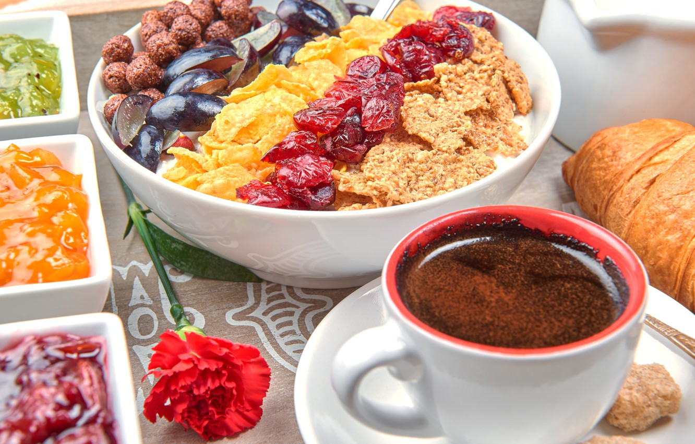 Photo wallpaper berries, coffee, Breakfast, fruit, breakfast, muesli, muesli, fresh berries