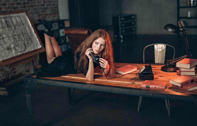 Photo wallpaper dress, phone, Katya Voronina, Alex Kashechkin