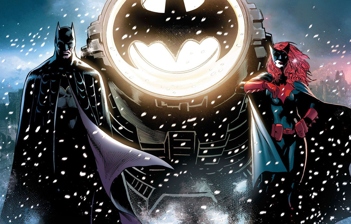 Photo wallpaper Winter, Snow, Sign, Heroes, Batman, Costume, Bat, Mask, Comic, Heroes, Cloak, Superheroes, Spotlight, Red, Winter, …