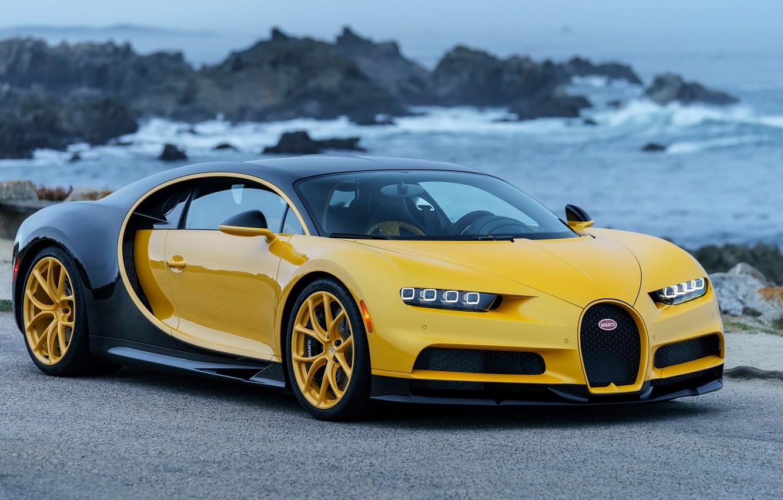 Photo wallpaper coast, Bugatti, 2018, hypercar, Chiron, Yellow and Black