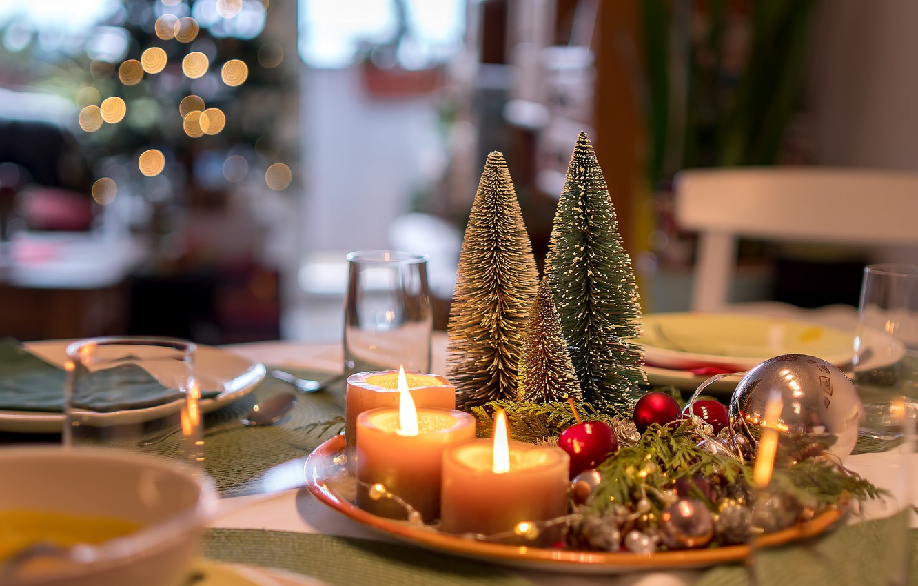 Photo wallpaper table, holiday, candles, dishes, embellished