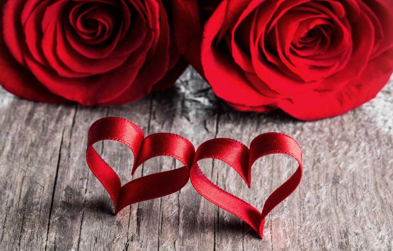 Photo wallpaper love, heart, roses, petals, pair, red, love, heart, romantic, Valentine's Day, petals, roses