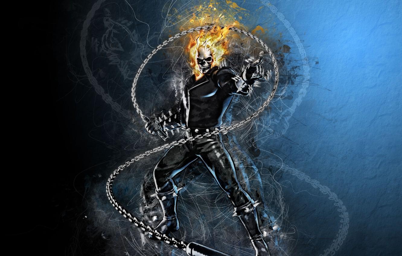 Photo wallpaper fire, sake, Ghost Rider, fantasy, Marvel, comics, digital art, artwork, superhero, fantasy art, flames, chain