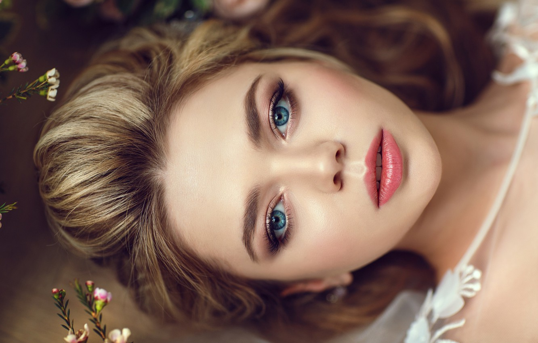 Photo wallpaper eyes, face, blonde, lips, Hakan Erenler