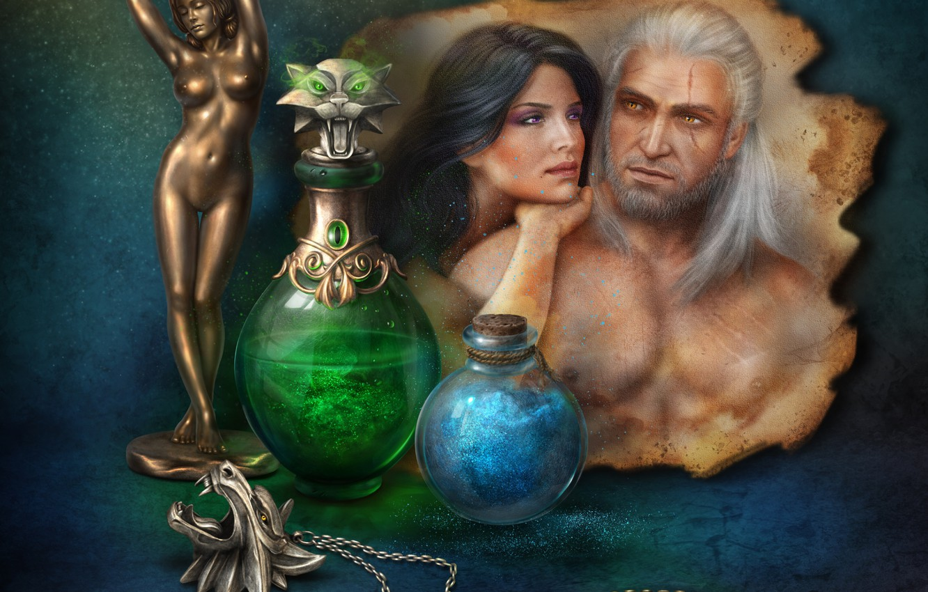 Photo wallpaper woman, pair, male, figurine, still life, The Witcher, potion, bottles