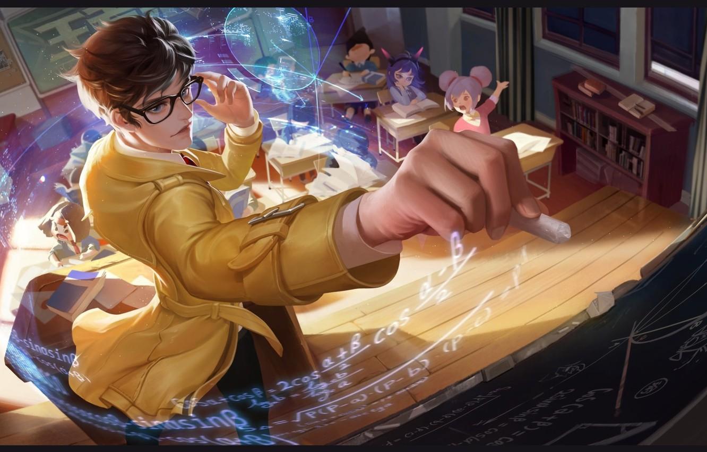 Photo wallpaper anime, art, school, lesson, teacher, chalk, kodomo no hi, Teacher-Liang Zhuge, YuYu Wang