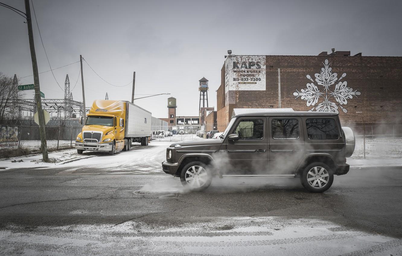 Photo wallpaper winter, the city, street, building, Mercedes-Benz, Luke, 2018, G-Class, evaporation
