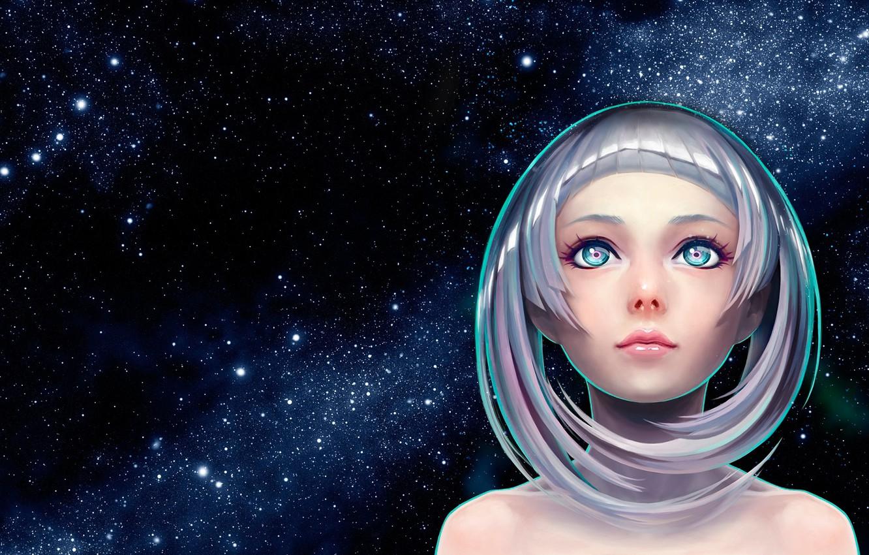 Photo wallpaper art. anime, night.stars, punipunidenki first mini album jacket illustration, Satoshi Ueda
