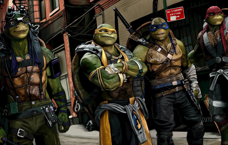 Wallpaper The City Art Four Mask Teenage Mutant Ninja Turtles