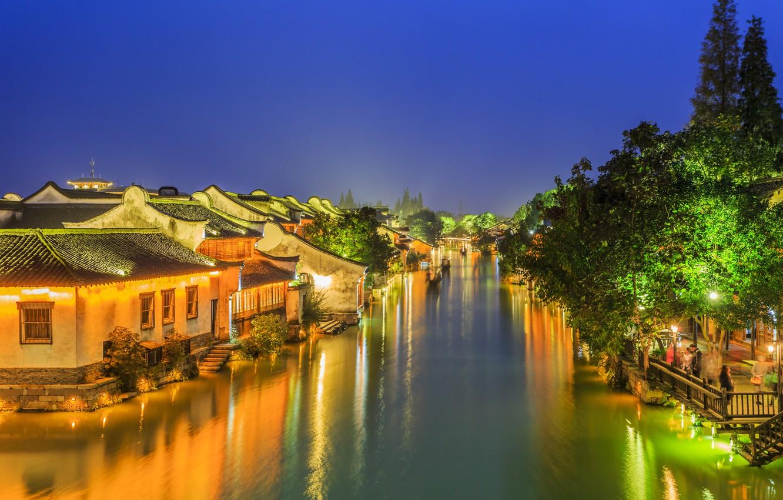 Photo wallpaper Home, Trees, River, Village, China, Night lights