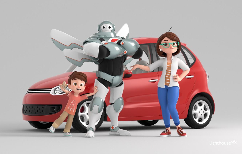 Photo wallpaper fiction, robot, art, machine, children's, Traffic is Life - Social Awareness Movie, Lorin Cinar