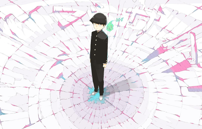 Photo wallpaper white, cracked, green, pink, black, spirit, anime, costume, Ghost, manga, superhero, Mob Psycho 100, Mob …
