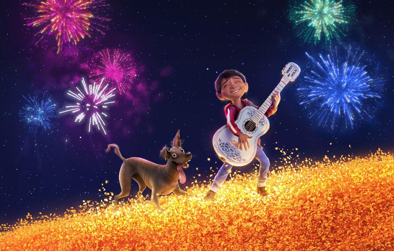 Wallpaper Salute Sky Holiday Colorful 3376x4220: Wallpaper Field, The Sky, Cartoon, Guitar, Dog, Stars
