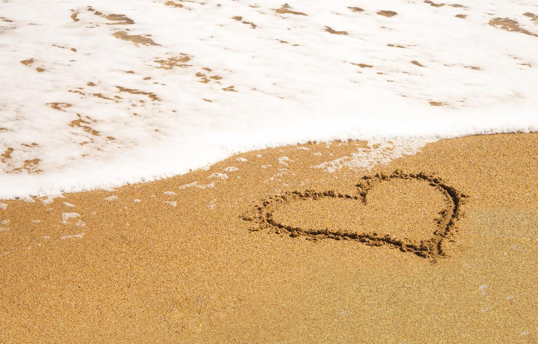 Photo wallpaper sand, sea, wave, beach, summer, love, heart, summer, love, beach, sea, heart, romantic, sand, wave