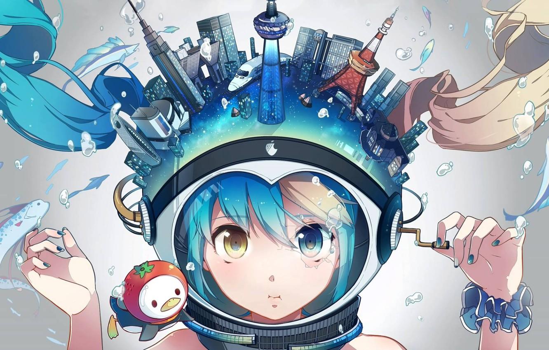 Photo wallpaper the city, anime, art, hatsune miku, Vocaloid, Miku Hatsune, tokyo aquarium