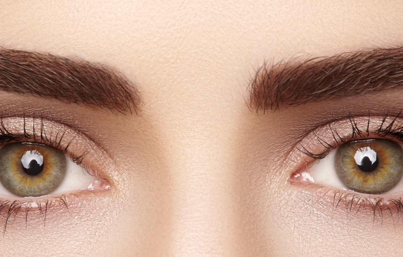 Photo wallpaper brown eyes, eyes, eyelashes, eyebrows