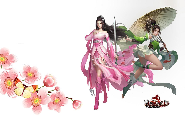 Photo wallpaper flowers, umbrella, girls, the game, art, Swordsman Mobile