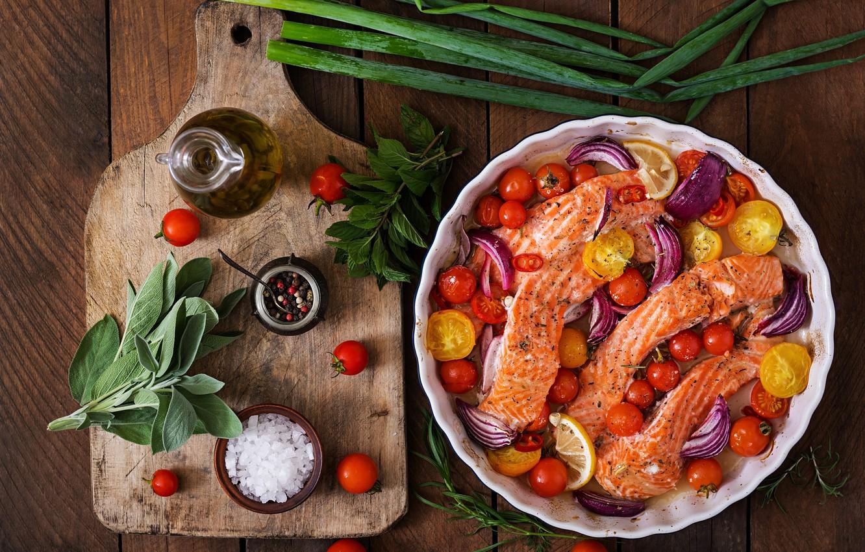 Photo wallpaper greens, Fish, vegetables, salt