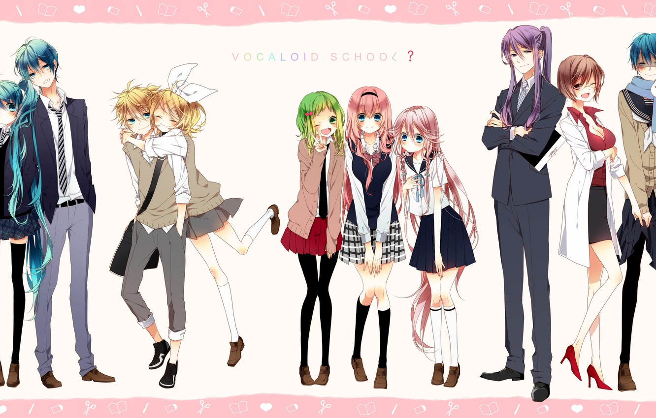 Photo wallpaper background, anime, art, Vocaloid, Vocaloid, characters, couples