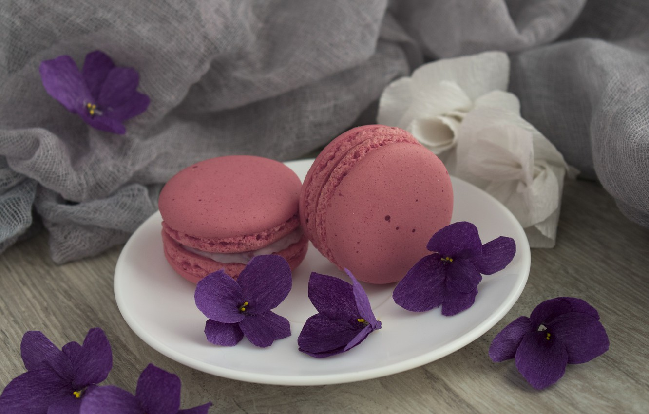 Photo wallpaper flowers, cakes, violet, macaroon